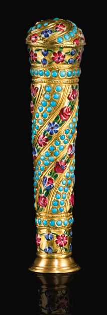 A Qajar polychrome enamelled gold cane handle mounted as a seal holder, Persia, 19th century of tapering cylindrical form, decorated with floral enamelled bands between double lines of turquoise stones, within customised later box 10cm.