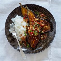 Meera Sodha's aubergine larb with sticky rice and shallot and peanut salad.