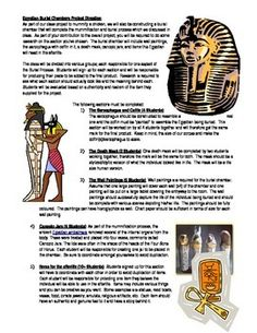A culminating activity to be used during your unit on Ancient Egypt. Students will be put into groups to work on completing various artifacts found in a Royal Egyptian Burial chamber. Rubric included with assignment description.  $