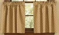 "Simple Praise 24"" Lined Curtain Tiers by Primitive Home Decors. $28.95. 100% Cotton Fabric. Simple Praise 24"" Lined Curtain Tiers 72"" Wide x 24"" Long 100% Cotton Lined 1-1/2"" header and a 2"" rod pocket. Shirr on conventional curtain rod. Priced and sold by the pair. Designed and manufactured by Park Des"