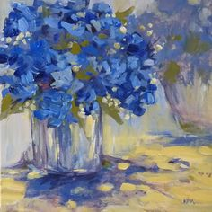 Blue Hydrangeas 12x12 square Original Acrylic by Karen Margulis
