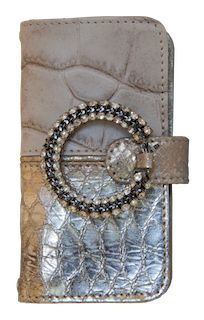 ST TROPEZ  This handmade luxury beige leather iphone case with Swaroski crystal jewel  motif
