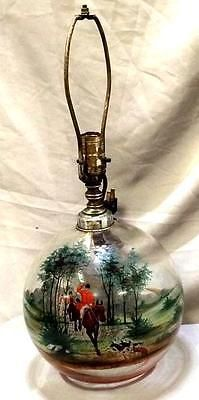Very unique hand painted lamp with scene of a fox hunt Lot 155 in Antiques, Decorative Arts, Lamps | eBay