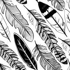 :::: ✿⊱╮☼ ☾ PINTEREST.COM christiancross ☀❤•♥•* ::::Seamless Pattern Of Tribal Black Bird Feathers On White Background ...