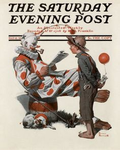 Norman Rockwell's Clown and Boy, May 18, 1918 Issue of The Saturday Evening Post