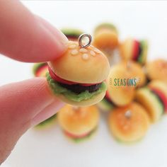 Burger Clay Charm (4 pcs) - Jewelry Supply - Miniature Food - Food Jewelry - Planner Charm - Gift for Her - DIY Project