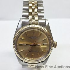 Awesome XF Condition Vintage Pie Pan Dial Rolex Datejust 1970s Gold Steel Watch #Rolex #Sport