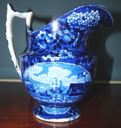 """Landing Of Lafayette"" Blue And White Historic Staffordshire Pitcher 1824"