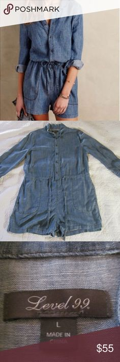 Anthro Level 99 Romper L Milly Chambray Anthropologie Level 99 Romper L Milly Chambray Blue.  This romper is in a gently worn condition with no rips or stains.  Length:  35 inches Underarm to underarm:  20.5 inches Sleeves:  21 inches Waist Uncinched:  19 inches Anthropologie Other