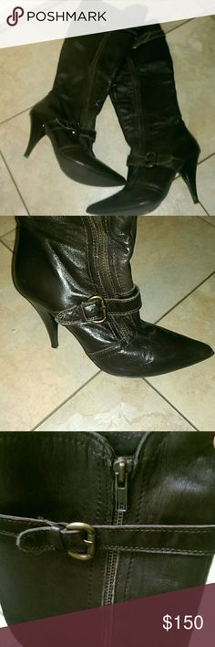 Francesco Morichetti Brown leather boots Excellent condition Francesco Morichetti stiletto brown leather boots. US size 8, European size 38 Francesco Morichetti Shoes Heeled Boots