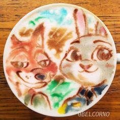 ラテアート【ジュディとニック】@ズートピア LatteArt【Judy and Nick】@ Zootopia  #Zootopia #ズートピア #ラテアート #LatteArt #Disney #ディズニー
