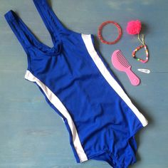 Swimsuit from the 90s Girl's Vintage Suit in Royal by ElleBelleVin