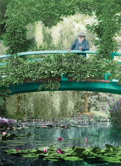 This 1922 colorized photograph shows Monet on the original Japanese footbridge in Giverny.  Exhibition at the New York Botanical Garden in the Bronx