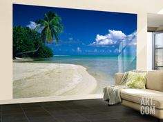 Palm Tree on the Beach, French Polynesia Wall Mural – Large at Art.com