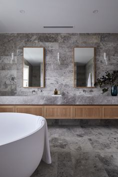 COASTAL LUXE - KWD Budget Bathroom, Bathroom Interior, Small Bathroom, Master Bathroom, Modern Bathroom, Bathroom Ideas, Master Baths, Family Bathroom, Stone Bathroom