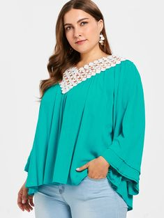 Wipalo Casual Plus Size Women V Neck Crochet Lace Up Blouse Flare Long  Sleeve Blouses Loose Blusa Feminina Tops Large Size 5XL 53451dc778ed