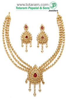 22K Gold Necklace & Drop Earrings Set with Uncut Diamonds & Rubies - DS514 - Indian Jewelry from Totaram Jewelers