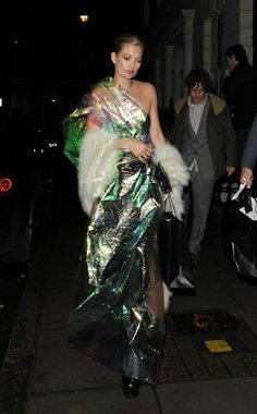 Maison Martin Margiela Couture dress, Fendi shawl, Christian Louboutin shoes, KM for Longchamp bag. 2011