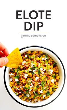 LOVE this Elote Dip recipe! It's quick and easy to make in about 15 minutes, naturally gluten-free, and full of all of those classic Mexican street corn ingredients we all love! And it can double as a salsa or topping for your tacos. Mexican Appetizers, Appetizer Dips, Appetizer Recipes, Dip Recipes, Mexican Food Recipes, Cooking Recipes, Light Recipes, Kitchen Recipes, Kitchens
