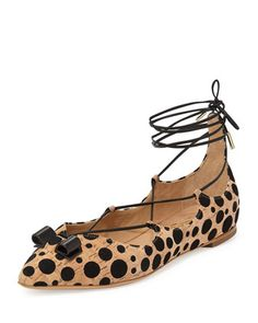 Claire+Spotted+Cork+Lace-Up+Flat,+Natural/Black+by+Edgardo+Osorio+for+Ferragamo+at+Bergdorf+Goodman.