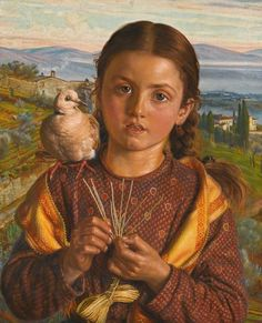Tuscan Girl Plaiting Straw, 1869 by William Holman Hunt on Curiator, the world's biggest collaborative art collection. Hunting Painting, Bel Art, A4 Poster, Poster Prints, Pre Raphaelite Brotherhood, Victorian Paintings, John Everett Millais, Walker Art, Digital Museum