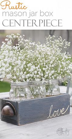 Love this adorable mason jar centerpiece - pretty inside or out! #masonjars #craafts