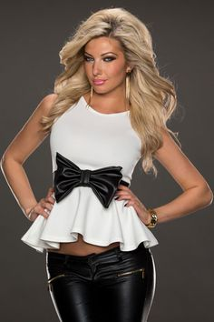 White Sleeveless Casual Peplum Top with Bow Belt