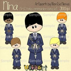 First Holy Communion boy Nina dolls 0388 digital clip by Withart, $4.50