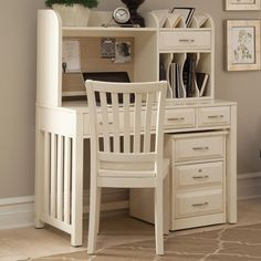 Hampton Bay - White Home Office Desk with Hutch by Liberty Furniture | Wolf Furniture