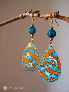 Tazhib_01 | Handpainted paper earrings | Acrilic on Canson cardstock | Paper Leaf