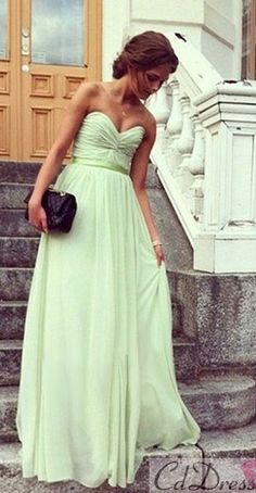 bridesmaid dresses on sale at reasonable prices, buy Clearing Robe De Soiree Sweet Strapless Pleats Sash Chiffon Long A-line Bridesmaid Dresses Vestidos De Festa Prom Party Gowns from mobile site on Aliexpress Now! Long Bridesmaid Dresses, Prom Dresses, Formal Dresses, Wedding Dresses, Green Bridesmaids, Graduation Dresses, Bridesmaid Color, Dresses 2014, Long Dresses