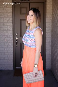 Spring fashion look with a maxi dress, wedge sandals, neutral clutch, Kendra Scott necklace, and long bob.