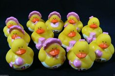 Baby Girl Shower yellow pink Rubber Ducky 1 doz / set of 12 Party favor Gift New #BabyShowerBirthday