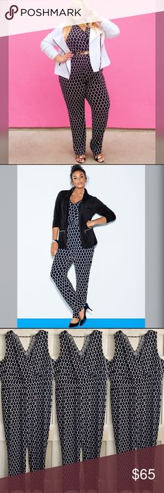"Printed Jumpsuit LANE BRYANT / Honeycomb Print Sleeveless Jumpsuit US Plus Size 26 - Black and white honeycomb print sleeveless jumpsuit - Surplice faux wrap neckline and bodice - Back v-neck cut-out - wide leg {33.5"" inseam} - 95% Polyester, 5% Spandex *check online size chart for measurements  ✅ NWOT- brand new, only worn once for photos  ✅ NO trades / NO low-balling ✅ List price is fair and highly discounted✌️ Lane Bryant Pants Jumpsuits & Rompers"