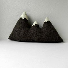 the Sisters - brown wool mountain range pillow