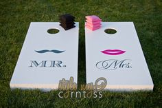 Cute boards to have for guests to play at the reception of an outdoor wedding or at rehearsal dinner...