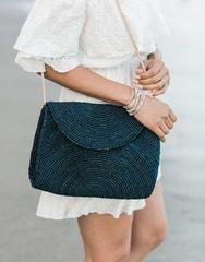 Fair Trade Raffia Crossbody Bag, Handwoven in Madagascar   Navy – The Little Market