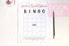 Bridal Bingo! Classic by PinkFoxPapercrafts on Etsy