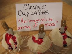 "Clove's cupcakes ""An impressive array of knives"" by Campfires and cleats. Hunger Games cupcakes. Hunger games party ideas. Halloween cupcake ideas."