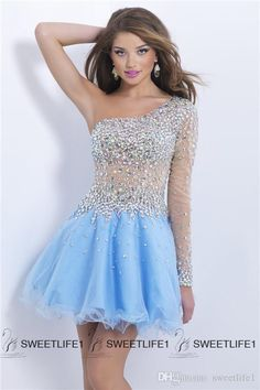 2015 One Shoulder Long Sleeves Prom Gown Crystal Beads Sheer Short Homecoming Dresses Light Blue Side Zipper Tulle A Line Cocktail Party