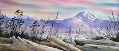 Mt. Rainier Driftwood Shore by James Williamson - Mt. Rainier Driftwood Shore Painting - Mt. Rainier Driftwood Shore Fine Art Prints and Posters for Sale