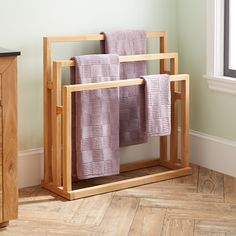 "35"" Antioch Freestanding Teak Towel Rack"