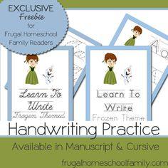 Download free Frozen-Themed Handwriting Practice Worksheets.