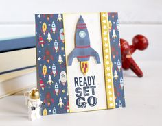 ready, set, go - Space lovers rejoice! Echo Park has created perfect rocket dies! Love this handmade card using them.