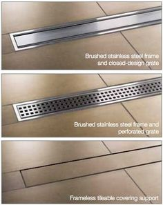 Kerdi Line from Schluter Systems - linear shower channel made of stainless steel or . Kerdi Line from Schluter Systems - linear shower channel made of stainless steel or . # shower channel # stainless steel I. Basement Bathroom, Bathroom Interior, Modern Bathroom, Small Bathroom, Master Bathroom, Bathroom Drain, Bathtub Tile, Bathroom Remodeling, Tile Shower Drain