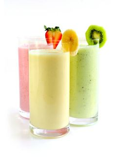 Slimtastic Smoothies: 20 nutritious and delicious smoothie recipes    Banana: Blend 2 bananas with 1/2 cup fat-free Greek yogurt, 1/2 cup skim milk, 2 teaspoons honey, 1/8 teaspoon cinnamon, and 1 cup ice.  Strawberry Shortcake: blend cups strawberries, 1 cup crumbled pound cake, 1-1/2 cups skim milk, 1-1/2 cups ice, and splenda or stevia no calorie sweetener to taste.  Raspberry Orange:Blend 1 cup orange juice, 1 cup raspberries, 1/2 cup plain yogurt, 1 cup of ice and splenda or stevia no…