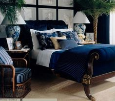 ralph lauren - coverlet and window coverings in shades of dark, rich blue