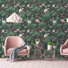 Crane Bird Forest Green Wallpaper - Inspired by the Orient, Cranes is an eccentric, whimsical interpretation of traditional Japanese bi - Forest Green Bedrooms, Green Rooms, Bedroom Green, Eclectic Wallpaper, Bird Wallpaper Bedroom, Oriental Wallpaper, Hallway Wallpaper, Bathroom Wallpaper, Pink And Green Wallpaper