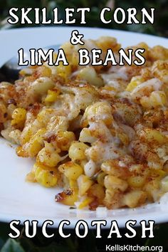 How to make Skillet Corn with Lima Beans also called Succotash in some parts of the United States. It's a hearty heartwarming meal! Lima Bean Recipes, Corn Recipes, Side Dish Recipes, Vegetable Recipes, Chicken Recipes, Corn Succotash, Succotash Recipe, Veggie Side Dishes