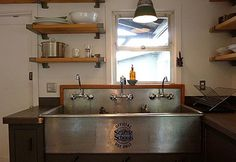 An industrial sink is  very practical as well as beautiful.